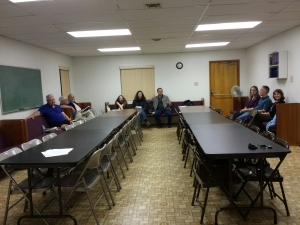 Anaheim's weekly Evangelism Fellowship meeting. Left to right: Leon Sims, Duane Shelton, Janice Shelton, Zoe Yost, Holly Yost, Jeff Yost, Sandra Norris, David Norris and Sheila Sanchez