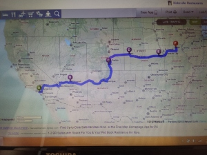Planned route to Kirksville from Anaheim