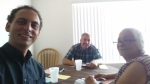 Jeff Yost (left) and Fred Flory (middle) study with Mary Lou (right) of Anaheim.